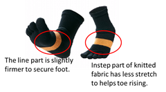 Phiten 5-Toe Walking Support Socks 22-24cm
